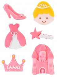 6 Sockerdekorationer prinsessa 4 cm