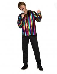 Glansig regnbågsskjorta herr