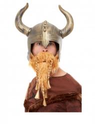 Guldfärgad supporterhälm med horn & skägg vuxen