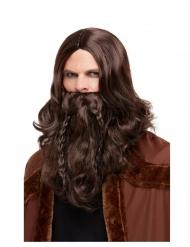 Brun peruk med flätat skägg vuxen