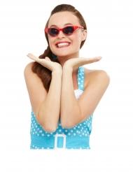 Röda retroglasögon med strass dam