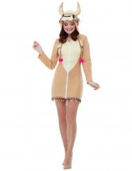 Damklänning med lama-huva