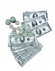 Kit med dollarsedlar och mynt