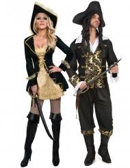 Svartguldiga pirater pardräkt vuxen