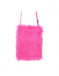 Plyschig neonrosa väska