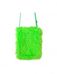 Neongrön plyschväska