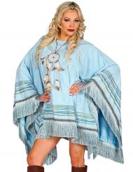 Blå hippie-poncho vuxen