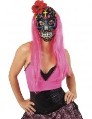 Dia de los Muertos mask med röd ros dam