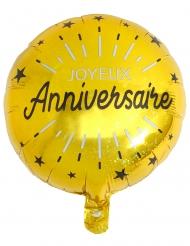 Joyeux Anniversaire guldfärgade aluminiumballonger 35 cm