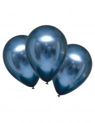 6 Marinblå glansiga latexballonger 28 cm
