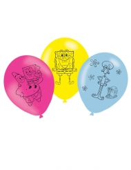 6 Svampbob Fyrkant™ latexballonger 27 cm