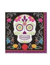 20 Pappersservetter färgglada skelett