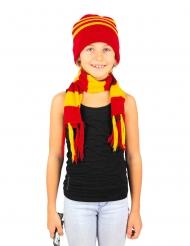 Rödgulrandig halsduk och mössa barn