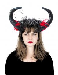 Diadem med stora svarta horn dam