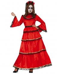 Mexikansk röd Dia de los Muertos damdräkt