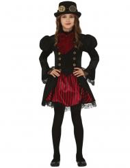 Glammig röd Steampunk-dräkt flicka