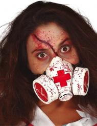 Blodstänkt rödvit gasmask vuxen