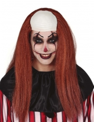 Långhårig skalp clownperuk vuxen