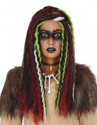 Lång voodooperuk med flätor dam