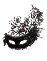 Svart mask med blommor dam