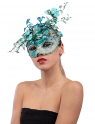 Blå mask med fjäril och kvistar dam
