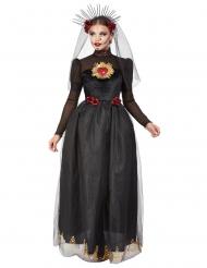Dia de los Muertos svart brudklänning damdräkt