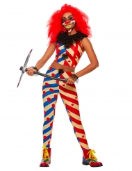 Läskig tvåfärgad clown damdräkt