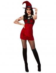 Satanistisk röd sexig hxdräkt dam