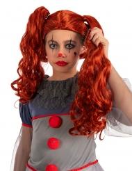 Röd clownperuk med svansar barn