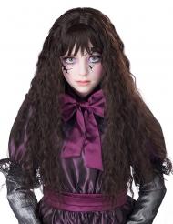 Lång lockig brun peruk barn