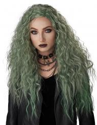 Lång lockig grön peruk dam