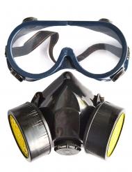 Kit med skyddsglasögon och gasmask vuxen