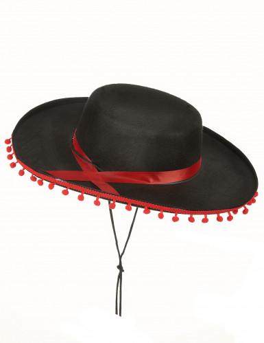 Flamenkohatt i svart och rött för