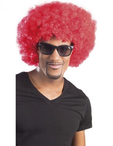 Röd afro/clownperuk med volym vuxna