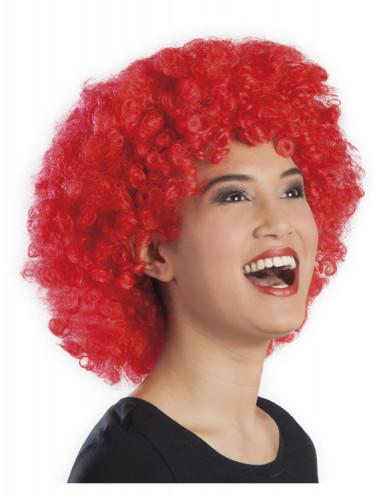 Röd afro/clownperuk med volym vuxna-1