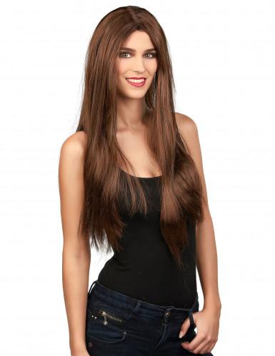 Lång brun peruk Halloween
