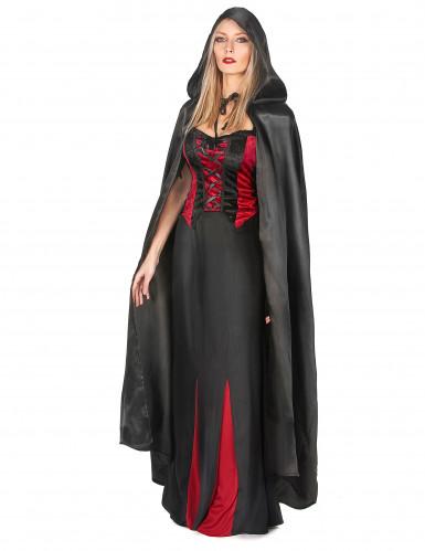 Svart vampyrcape Halloween vuxna-1