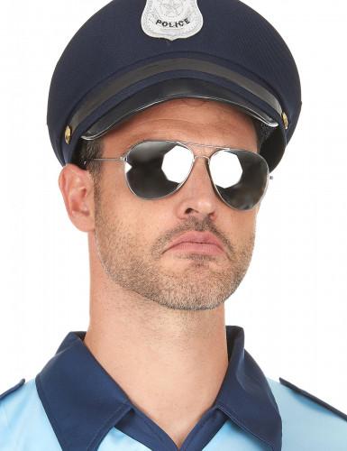 Svarta pilotglasögon med silverfärgade bågar-2