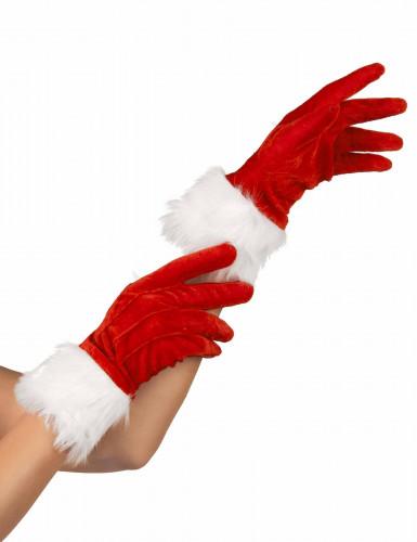 Röda handskar med vit päls för Tomtemor