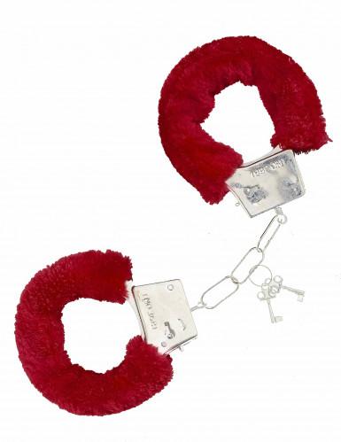 Handfängsel i röd päls