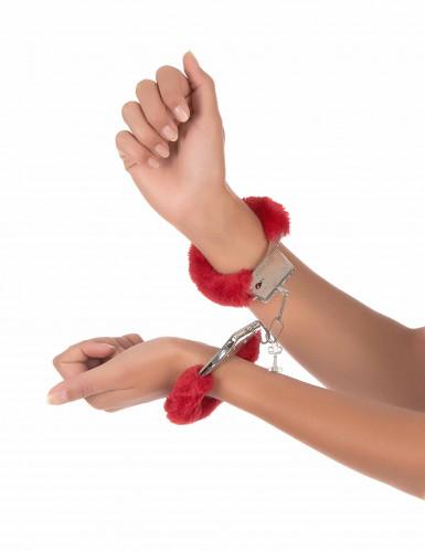 Handfängsel i röd päls-1