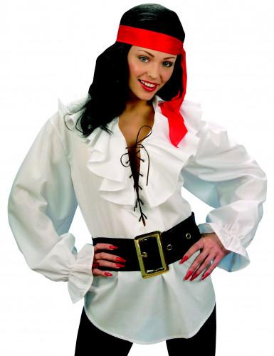 Vit piratskjorta vuxen