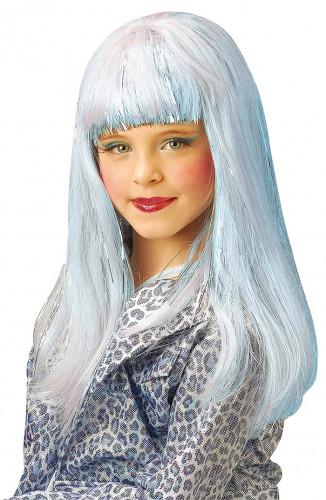 Lång blå peruk