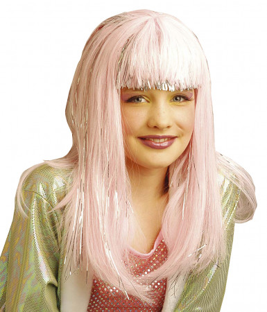 Lång rosa peruk för barn