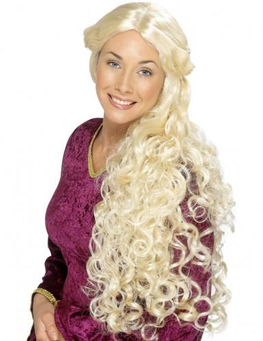 Jungfru med lockar - Lång blond peruk för Vuxna