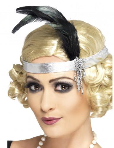 Charlestonpannband i silver - Maskeradtillbehör för vuxna