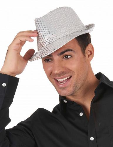 Hatt italiensk stil med silver-paljetter vuxen-1