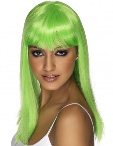 Green Beauty - Neongrön lång peruk med lugg
