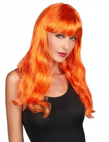 Charmerande i oranget - Peruk med långt hår och lugg för vuxna
