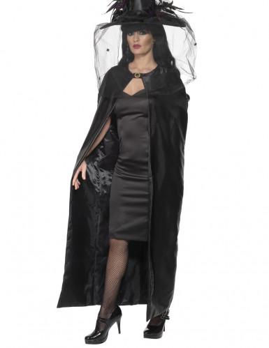 Häxkape svart vuxen Halloween